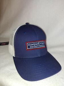 New Men Vineyard Vines Navy Logo Box Trucker Flag Baseball Cap Hat Size O/S