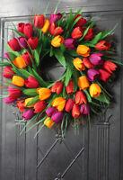 Deko Kranz Tulpe Türkranz Blumenkranz Blütenkranz Wandkranz Wandschmuck