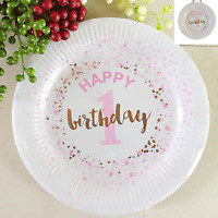 1ST BIRTHDAY GIRL PAPER PLATES 23CM PACK OF 12 BIRTHDAY PARTY SUPPLIES