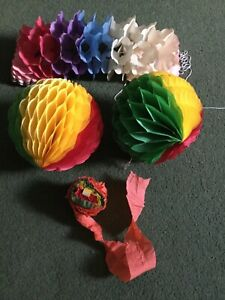 vintage Christmas Paper Decorations 2 flameproof Balls Folded Pull Out, Streamer