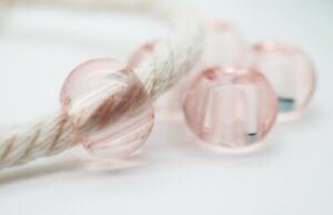 4 Pcs - Light Pink Color Glass Beads with Large Hole / Macrame Supplies