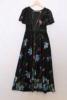 Vintage black Floral blue pink boho gypsy 70s hippy maxi angel sleeves dress S