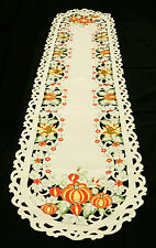 Fall Pumpkins and Sunflowers Cut Work Table Runner 15x69 inches