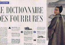 COUPURE DE PRESSE CLIPPING 1957 Le Dictionnaire des Fourrurres (4 pages)