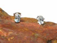 Blue TOPAZ  Oval Sterling Silver 925 Gemstone  Earrings / Studs  -  4 x 6 mm