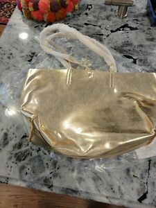 Mark & Graham Tote Gold Faux Vegan Imitation Leather Large New in Package