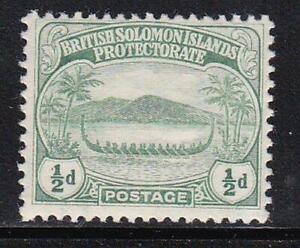Album Treasures  Solomon Islands Scott #  8  1/2p  War Canoe  Mint LH