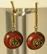 reddish brown disks and sculpted rose Vintage gold plated clip on earrings with