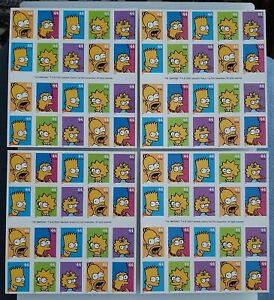 The Simpsons US STAMP SHEETS 4 Different covers 5 stamp designs #4399-4403 2009