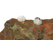 Fiery  Oval  White Opal  Sterling  Silver 925 Gemstone  Stud Earrings - 5 x 7 mm