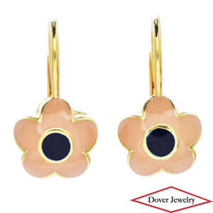 Estate 14K Gold Lovely Enamel Flower Drop Earrings NR