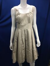 Calvin Klein Size 6 Classic Pleated Beige Dress