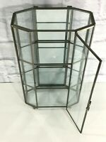 """13"""" Wall / Tabletop Glass Curio Display Cabinet With Mirror Back"""