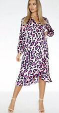 Quiz Dress Pink Satin Leopard Print Midi Wrap Dress Size 10 EJ33 New.