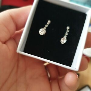 Silver diamond stud earrings