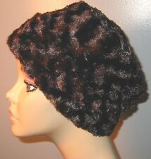 Brown Furry  Fleece Pillbox Chemo Hat, , Winter Hat, Alopecia,Turban Cancer Hat