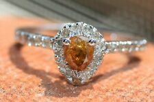 Fancy Orange Yellow Brownish Color Pear Shaped Diamond Halo Engagement Ring