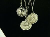 Nordstrom BP Three Silver Tone Chains With Disc Pendants Necklace
