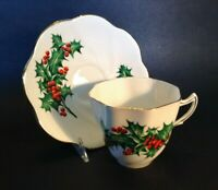 Rosina Cup & Saucer - Scalloped Rims - Red & Green Holly - Christmas - England