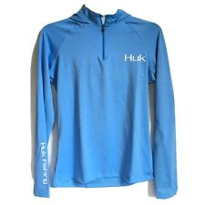 HUK Womens XS Icon Performance Fishing Hoodie Light Blue Thermal Extra Small NWT