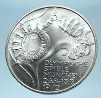 1972 Germany Munich Summer Olympics Stadium Genuine 10 Mark Silver Coin i77923