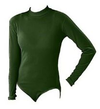 Pizzazz 8600 Women's Size Med (8-10) Forest Green Long Sleeve Turtleneck Leotard