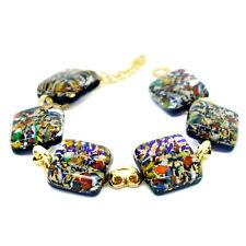Murano Glass Bracelet Gold and Multi Coloured Armband Handmade Venice Gift