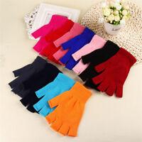 1 Pair Warm Thin Fingerless Elastic Knitted Gloves Mittens Half Finger Warmer US