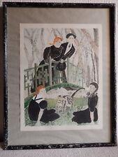 Tableau peinture française aquarelle couple sur un pont enfants chat signé Miot
