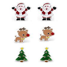 925 Sterling Silver Santa Baby Rudolph Christmas Tree Stud Earrings Set Kids
