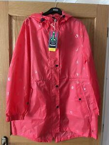 Joules Womens Size 18 Golightly Printed Waterproof Packaway Jacket - Poppy Spot