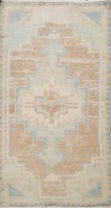 Vintage Geometric Oushak Turkish Oriental Area Rug Vegetable Dye Handmade 2x3 ft