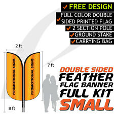 8FT Full Color Feather Double Sided Custom Flag Banners w/Fiberglass Pole kit