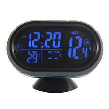 Blue backlightLCD Digital Car Thermometer Voltage Meter Monitor alarm Clock