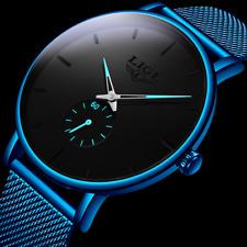 Ultra Slim Men's Stainless Quartz Mesh Strap Wrist Watch Black & Blue Lige Watch