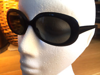 Ladies Retro Oversize Oval Piano Black CE Dark Tint CAT 3 Sunglasses UV400 S8