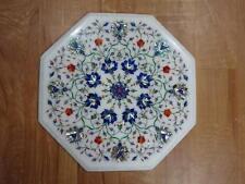 "18"" Marble Corner Side Table Top Semi Precious Stones Inlay Home Decor & Garden"