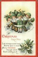 Christmas - Kids Music Green Hats - Ellen Clapsaddle c1910 Postcard