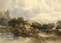 Riverside Track in Mountain Landscape – Mid-19th-century watercolour painting