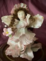 OOAK Vintage Hand Painted Bisque Porcelain Fairy Doll House Doll Glass Dome Base
