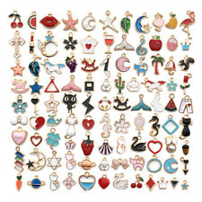 100 Styles Assorted Golden Color Enamel Charm Pendant for DIY Necklace Bracelet