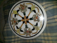 """24"""" White Marble Coffee Table Top Rare Marquetry Inlaid Mosaic Floral Decorative"""