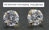 14K Solid Yellow Gold Round Created Diamond  Stud Earrings sizes  4-10MM