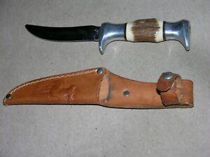 Vintage Edge Mark Solingen Germany Original Buffalo Skinning Knife with Sheath