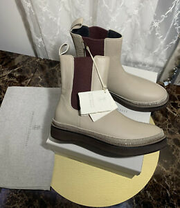 Brunello Cucinelli Leather Chelsea Boots Taupe Color Size 37 RRP £1040 BRAND NEW