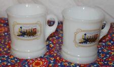 Train Engine Locomotive Pair Coffee Mugs or Shaving Mugs Milk Glass Cups   Avon