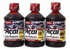 3 BOTTIGLIE OPTIMA Aloe Pura Acai Super Frutta Succo 500 ml Antiossidante bevande