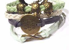 Infinity Live Laugh Love Charm Bracelet Turtles - grey, sea foam, cream