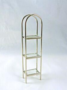 Dollhouse Miniature Chrome Etagere Tall Shelf, S1056