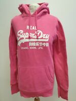 T888 WOMENS SUPERDRY PINK DRAWSTRING PULLOVER HOODIE UK L 12 EU 40